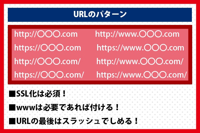 URLのパターン(http・https)