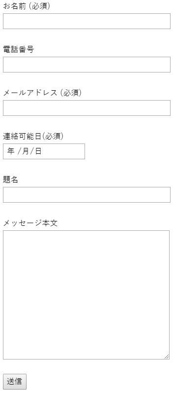 Contact Form 7のデフォルトのフォーム画像