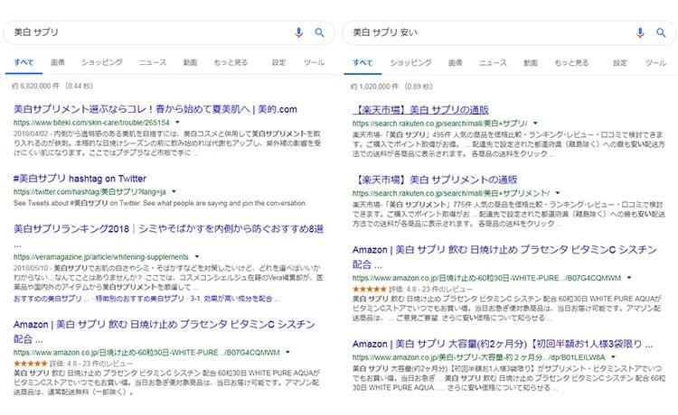 """""""美白 サプリ""""と""""美白 サプリ 安い""""の検索結果の比較画像"""